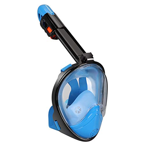 ANGGO Full Face Snorkel Mask with Detachable Mount for Sports Camera,Featured 180° Panoramic View,Free Breathing and Anti-Fog Anti-Leak for Adults and Youth (Blue, L/XL)
