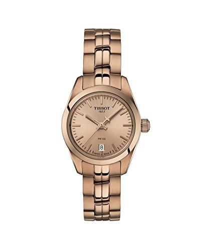 [해외] Tissot T-Classic PR 100 스몰 레이디스 로즈 골드 크림 손목시계 T1010103345100