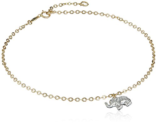 Elephant Tri Color Bracelet (14k Tri Color Adjustable Gold Elephant Anklet)