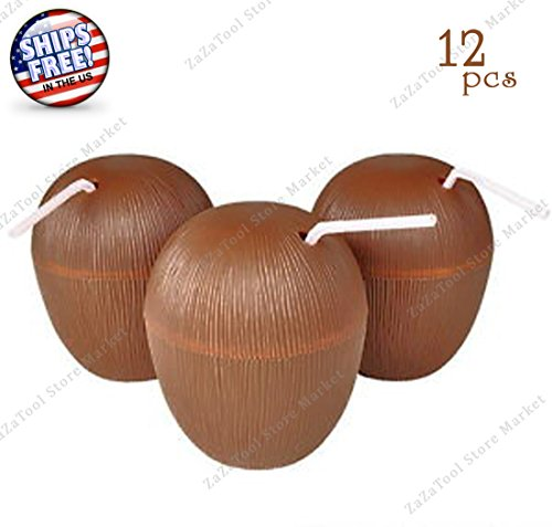 ZaZaTool - 12 Coconut Cups with Straws 16oz Wood Style Luau Plastic Party - Care Day Family Nectar
