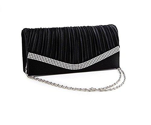PHILNA12sera borsetta pochette con tracolla e catena strass raso (nero)