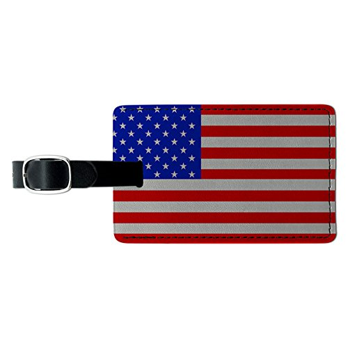 Graphics & More USA American Flag Leather Luggage Id Tag Suitcase Carry-on, Black ()