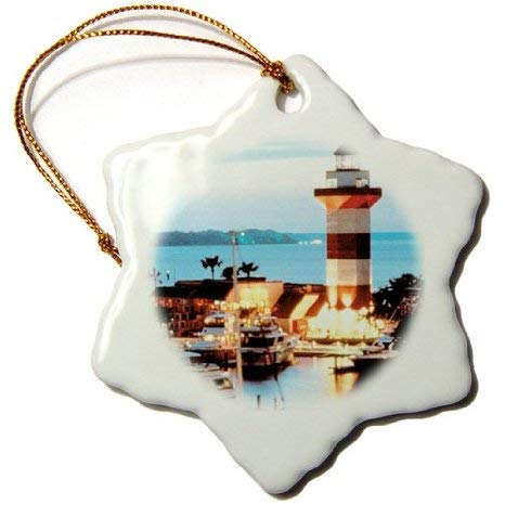(Joanna Harbor Town Lighthouse at Hilton Head Island at Dusk Snowflake Decorative Hanging Ornament, Porcelain, 3-Inch)