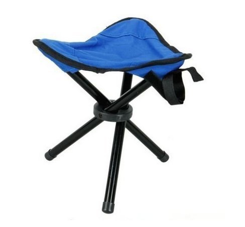 Outdoor Hiking Fishing Portable Folding Deck Chair Stoll With 3 Legs Tripod Stool (Blue)