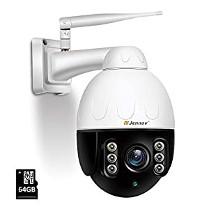 5MP Security CCTV Camera Outdoor, Jennov 5X Optical Zoom Wireless WiFi PTZ IP Security Camera with 64G SD Card, Two Way…