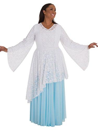 Body Wrappers Jupe longue en mousseline pleine pour femme Blanc
