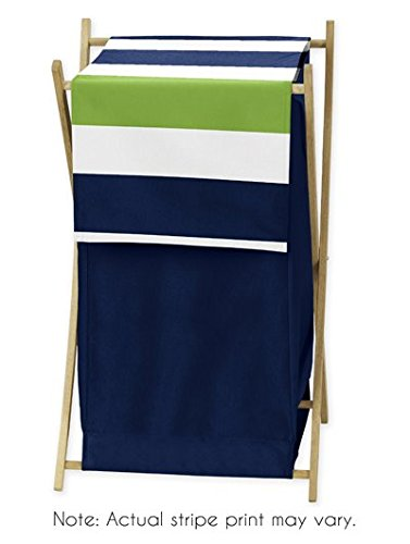 Sweet Jojo Designs Children Kids Teen Clothes Laundry Hamper for Navy and Lime Stripe Bedding Set by Sweet Jojo Designs