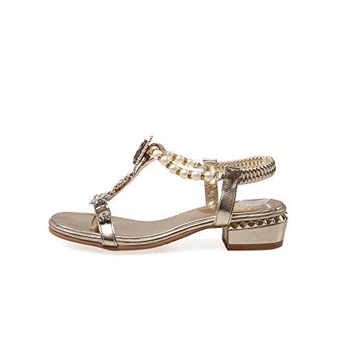 Fashion Heel - Zapatos con correa de tobillo mujer dorado