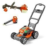 Husqvarna Battery-Powered Kids Toy Lawn Mower, Orange + Toy Leaf Blower + Toy Lawn Trimmer