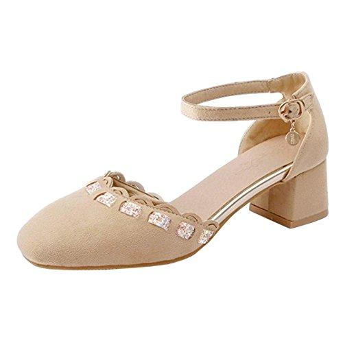 Coolcept Mujer Correa de Tobillo Bombas Zapatos con Tacon Beige