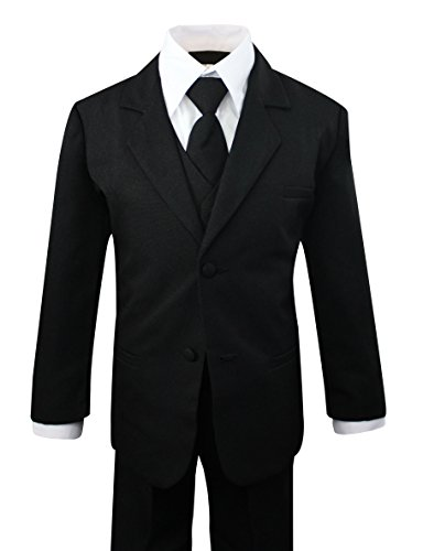 Luca Gabriel Toddler Boys' 5 Piece Classic Fit No Tail Formal Black Dress Suit Set with Tie and Vest - Size 7