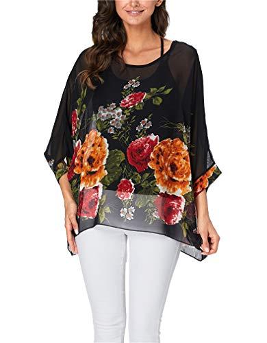 - Vanbuy Womens Summer Printed Batwing Sleeve Top Chiffon Poncho Flowy Loose Sheer Blouse Shirt Z91-4329