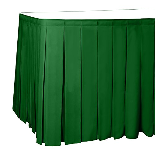 - Ultimate Textile 17 ft. Box Pleat Polyester Table Skirt Emerald Green