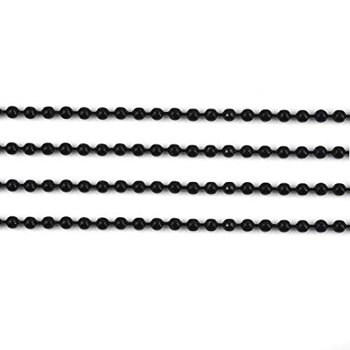 20Pcs Ball Beads Chain Necklace Bulk for Jewelry Making Platinum Plated Bead Chain Adjustable Metal Pull Chain Extension Beaded Chain with Matching Connector Black Chain ()