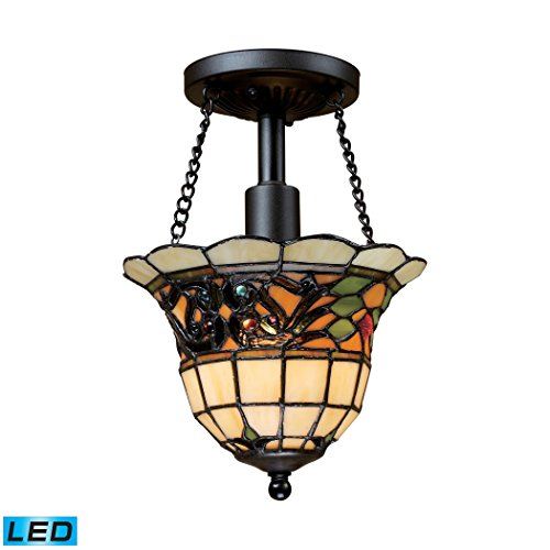 (Tiffany Buckingham 1-Light Semi-Flush In Vintage Antique - LED Offering Up To 800 Lumens (60 Watt Equivalent) With Full Range Dimming. Includes An Easily Replaceable LED Bulb (120V).)