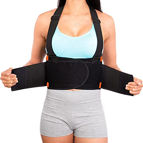 Lower Back Brace with Suspenders   Lumbar Support   Wrap for Posture Recovery, Workout, Herniated Disc Pain Relief…