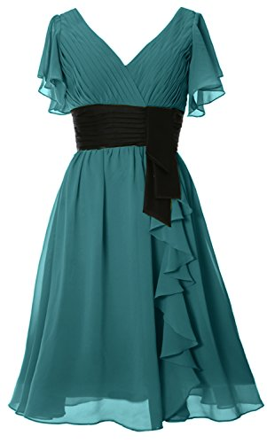 V Festa D' Corte Oasis MACloth Di onore Collo Formale Vestito Maniche Donna Damigella Nozze Abito qw01R