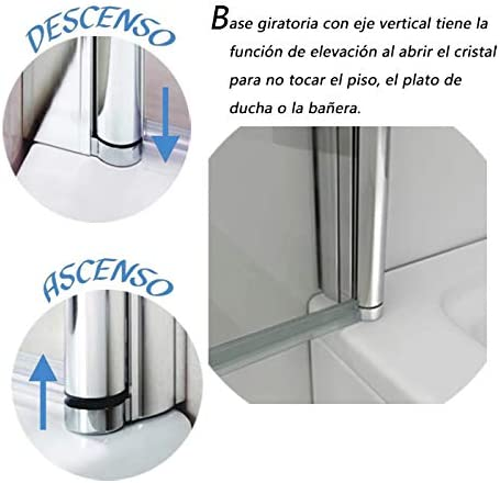 Mampara de Bañera, Biombo Abatible + 1 FIJO 100x140cm: Amazon.es: Bricolaje y herramientas