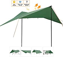 REDCAMP Lightweight Camping Tarp Shelter with Tarp Poles and Canopy Stakes 12ft Sun Shade Awning Canopy Set for Backpacking Hiking