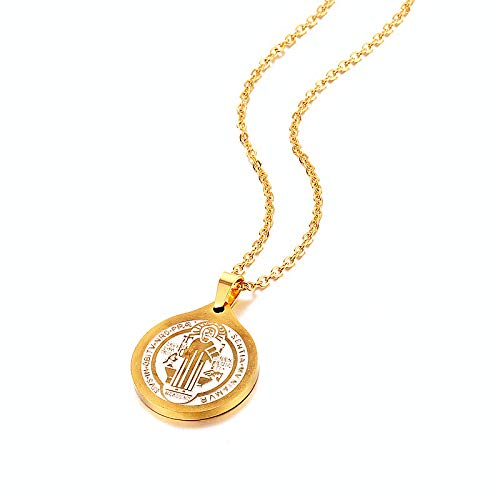 San Benito Medal Pendant Necklace Stainless Steel Gold Color St Benedict Religious Catholic Pendants For Men Women Jewelry