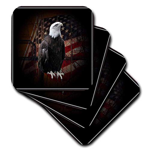 (3dRose CST_11602_2 Bald Eagle with American Flag Soft Coasters, Set of 8)