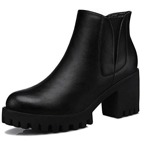 Casual Comfortable Boot Warm Waterproof Ankle High Walking MAC Combat Boots Bootie Womens U Chunky Black Heel zFqWPOXS