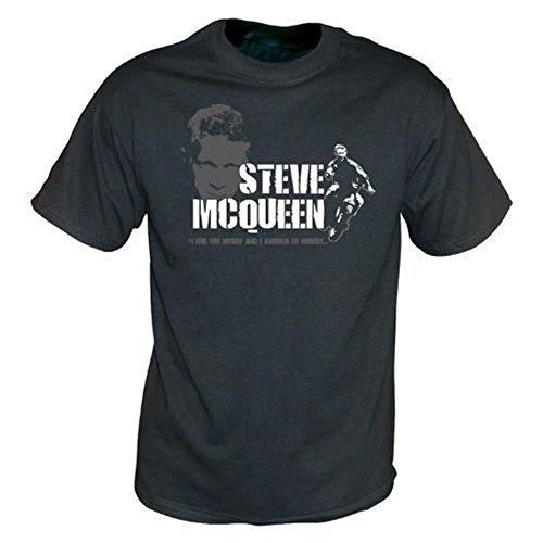 TshirtGrill Steve McQueen - das große Entweichenweinlese-Wäschet-shirt, Farbe- Schwarzes