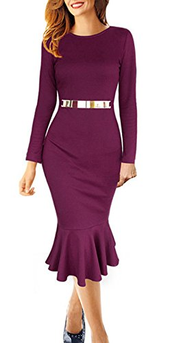 4eadbf517413 Beauty7 Damen Vintage Langarm Etuikleid mit Fischschwanz Meerjungfrau  Knielang Bodycon Kleid Business Stretch Kleid Bleistift Cocktailkleid
