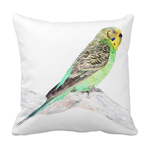 - Large beach pants Cute Pillow Cover Cotton 18x18 inches Twin Sides Parakeet, Watercolor Print, Throw Pillowcase