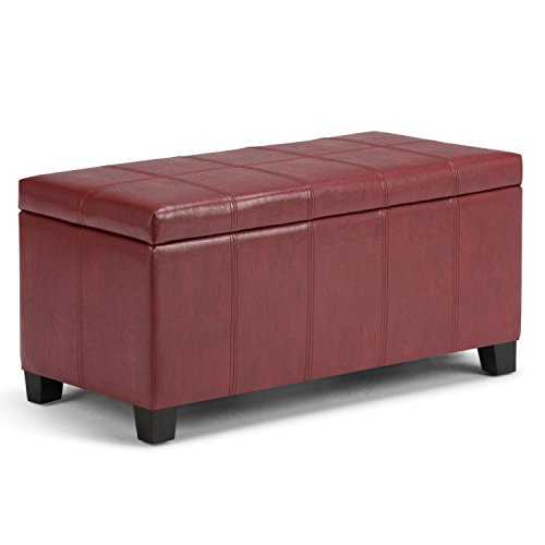 Simpli Home AXCOT-223-RRD Dover 36 inch Contemporary Storage Ottoman in Radicchio Red Faux Leather