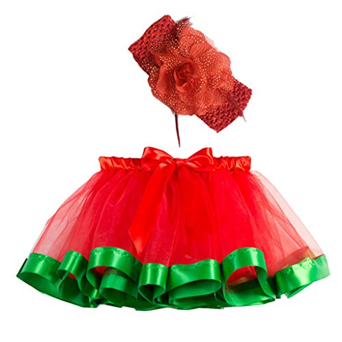 Sunhusing Adorable Girls Rainbow Tutu Skirt + Hair Strap Two-Piece Suit Toddler Party Dance Ballet Costume Skirt]()