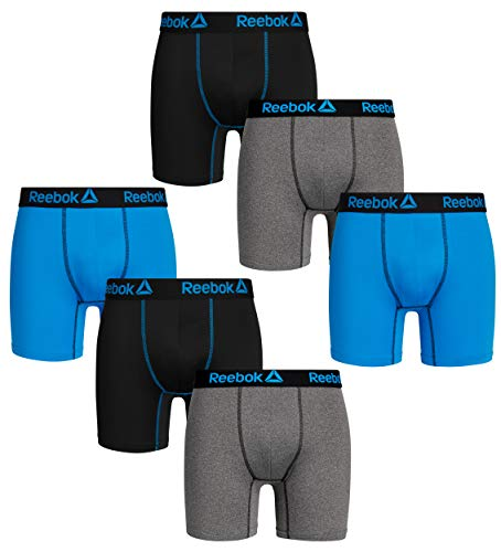 (Reebok Mens 6 Pack Performance Anti-Microbial Boxer Briefs, Black/Charcoal Heather/Blue, Size)