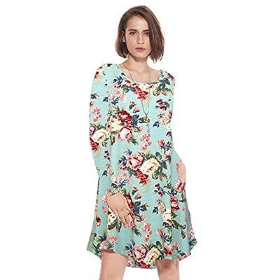 JollieLovin Women's Pockets Short Sleeve Casual Swing Loose Dress at Women's Clothing store