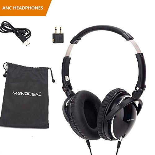 Active Noise Cancelling Headphones with Mic, MonoDeal Over Ear Deep Bass Earphones, Folding and Lightweight Travel Headset with Carrying Case - Black -