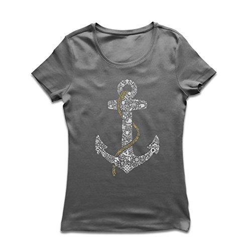T Shirts for Women Salty Sailor Anchor, Sea Marine Sailor Shirt, Sailing and Yachting Clothing (Medium Graphite Multi Color) ()