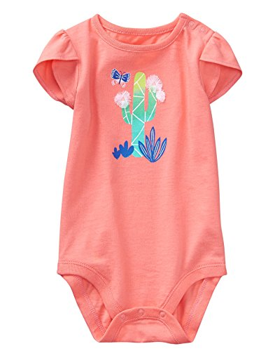 - Gymboree Baby Girls 1-Piece Short Sleeve Bodysuit, Soft Coral, 0-3 mo
