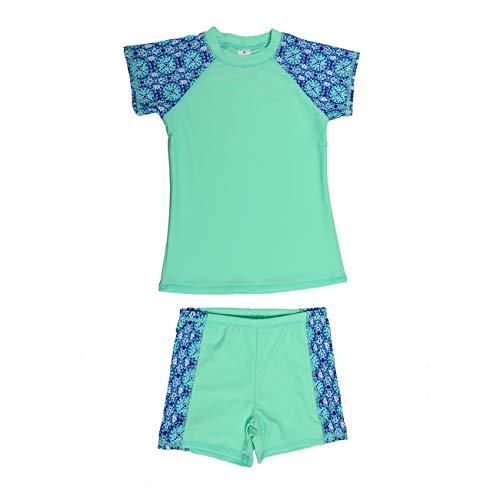 (DAYU Unisex Kids Boys Girls 2 Piece Short Sleeve Rashguard Set Surfing Suits, Green, 10-12)