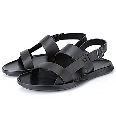 2018 Men's Anti - Skid Genuine Leather Business Breathable Open Toe Sandals Casual New Soft Bottom Beach Shoes (Color : Black, Size : 5.5 UK)