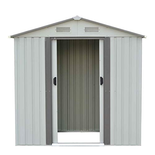 4x6FT Heavy Duty Outdoor Garden Storage Shed Weatherproof Steel Tools Utility Backyard Lawn Shelter Sloped Roof With Window