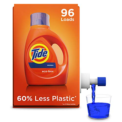 Tide Laundry Detergent Liquid Eco-Box, Concentrated, Original Scent, 105 oz, HE Compatible, 96 - Liquid Laundry