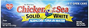 Chicken of the Sea Solid  White Tuna, in  Water, 3-Count, 3-Ounce Cans (Pack of 8)