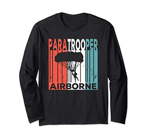 Paratrooper Airborne Vintage Unisex Long Sleeve T Shirt ()
