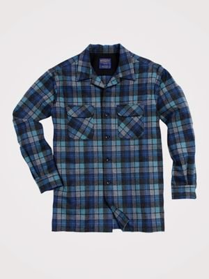 Pendleton Men's Long Sleeve Fitted Board Shirt, Blue/Green Original Surf Plaid-30789, LG