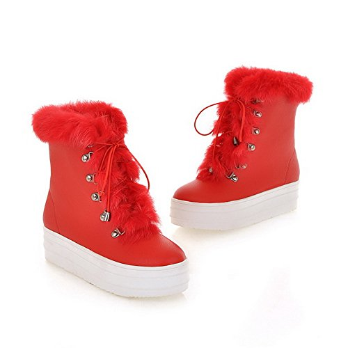 PU US Toe B Short Womens AmoonyFashion Frost Toe Round 5 Plush M Platfrom Heels with Red Boots Closed Solid Kitten 0qWpFW