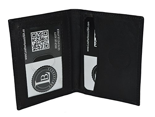Slim Thin Leather Credit Card Id Mini Wallet Holder Bifold Driver's License Safe ()