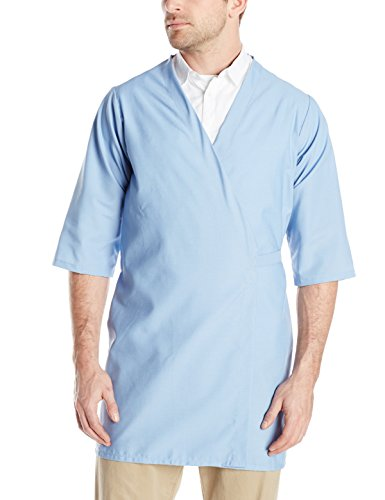 Red Kap Men's Collarless Butcher Wrap, Light Blue, Small