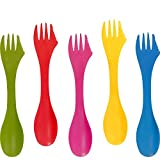 BBTO 30 Pieces Durable Plastic Sporks, Spoon Fork and Knife Combo Utensils Camping Spork Cutlery Set for Camping, Outdoor Activities, 5 Colors with Portable Bag