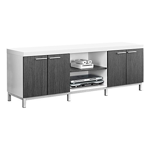 Monarch Specialties White/Grey Hollow-Core TV Console, 60-Inch ()