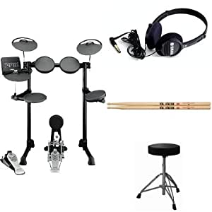 yamaha dtx450k electronic drum kit with drum throne vic firth drumsticks and full. Black Bedroom Furniture Sets. Home Design Ideas