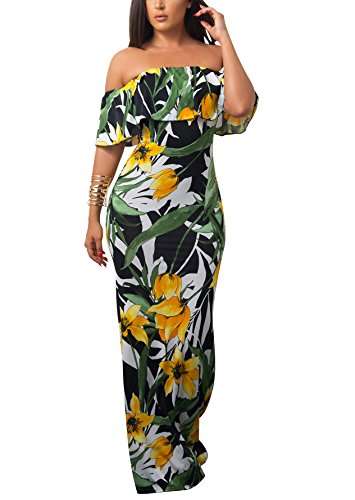 Suimiki Vintage Ruffle Plain Floral Printed Off Shoulder Bodycon Long Party Maxi Dress Dark Green 3X-Large (Cruise Plus Dress Size Maxi)